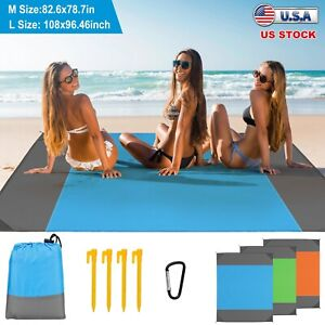 Sand proof Beach Blanket Picnic Blanket Beach Camping Mat w 4 Anchors Carry Bag