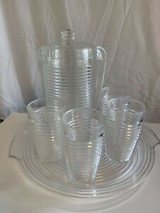 Vintage Retro Majestic Acrylic Beehive 7 piece Beverage Set Clear Ribbed