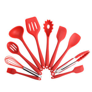 10pcs set Non Stick Silicone Cooking Utensils Set Heat Resistant Cooking Tool US