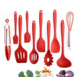 10Pcs Red Silicone Kitchen Cooking Tool Nonstick Cooking Utensils Cookware Set