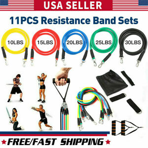 Resistance Bands Workout Exercise Yoga Set Crossfit Fitness Training Tubes 11Pcs