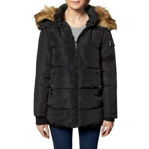 Madden Girl Women#x27;s Quilted Faux Fur Trim Hooded Convertible Winter Puffer Coat $17.99