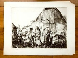 ORIG. GEORGE HAND WRIGHT 1860 1942 ETCHING SIGNED quot;PIG SCRAPINGquot; COUNTRY BARN $299.00