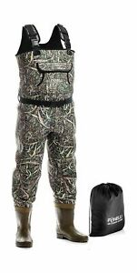 Foxelli Neoprene Chest Waders Camo Fishing Waders for Men Boots Duck Hunting 12