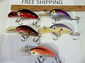 LOT OF 5 NICE Wordens Fat fish CRANKBAITS FISHING LURES TACKLE BOX FIND