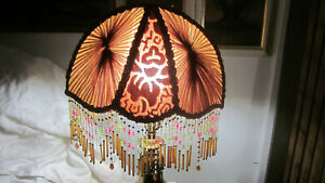 ANTIQUE VINTAGE BRIDGE ARM SILK RUCHED LAMPSHADE W CZECH BEADED LAMPSHADE FRINGE $230.00