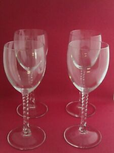 Vintage Wine Glasses Set of 4 Twisted Stem Spiral 7 1 2quot; Additional Lot Avail $15.99