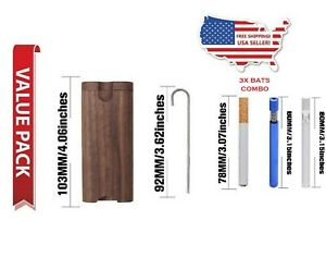 Wooden Dugout Box with Metal Bat and Poker 2 Free One Hitter Bat Pipe Chillum $13.99