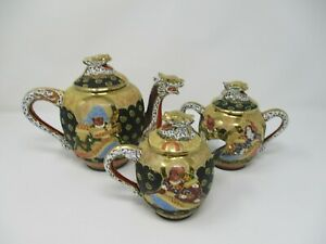 Japanese Satsuma Dragonware Hand Painted Tea Set 21 Piece With Buddha