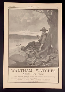 1906 Waltham Watch Ad: Hunting Cowboy timing the sunrise over breakfast at lake