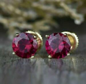 2.00 Ct Round Red Ruby 14k Yellow Gold Over Solitaire Women#x27;s Stud Earrings