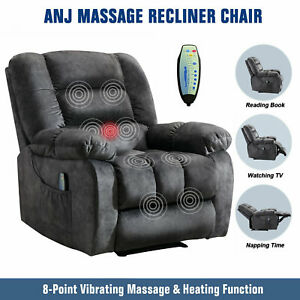 Massage Recliner Chair With Heat amp; Vibration Overstuffed Soft Fabric Lounge Sofa $309.99