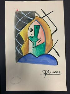 Painting on Paper of a Woman Signed Picasso with Gallery Stamps $495.00