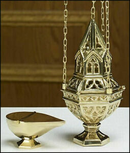 ORNATE THURIBLE CENSER AND BOAT SET $99.95