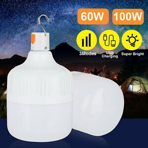60 100W LED Camping Light USB Rechargeable Outdoor Tent Lamp Hiking Light USA