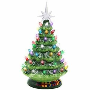 10quot; Ceramic Christmas Tabletop TreeLights Decorations Multicolored Lights $35.99