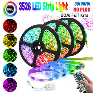 66FT RGB Flexible LED Strip Light 3528 SMD Remote Fairy Lights Room TV Party Bar $18.04