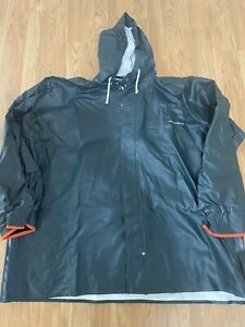 Green Grundens Hooded Commercial Fishing Rain Jacket Coat Parka Cuffs SIZE 3XL