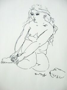 RAUL DUFY French Lithograph Signed Listed Nude Woman Good Condition $40.00
