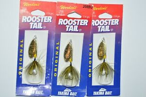 3 lures wordens rooster tail trout spinners 1 8 oz bumble bee