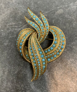 VINTAGE SIGNED CINER BROOCH PIN MINI TURQUOISE BEAD RIBBON DESIGN GOLD $52.95