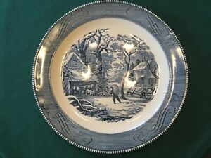 """RARE CURRIER AND amp; IVES A SNOWY MORNING 13 1 4"""" INCH SERVING PLATTER ROYAL CHINA $49.95"""
