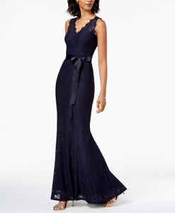 Adrianna Papell Lace V Neck Sash Gown Navy Sz 14 $155.55