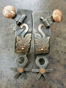 Used Handmade Silver Spurs Single Mounted Spurs Marked by Maker