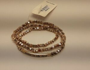 Gold tone shiny metal square beads layer quot;Trust in the Lordquot; Bracelet DD6A 7 22 $3.69