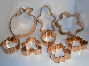 8 Large size amp; sturdy copper holiday cookie cutters Fall amp; Christmas $14.99