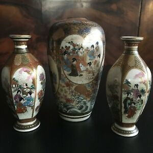 3 Pc Grouping Japanese Satsuma Miniature Vases