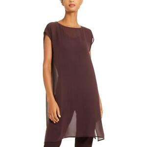 Eileen Fisher Womens Silk Sheer Split Hem Tunic Top Shirt BHFO 8785 $39.99