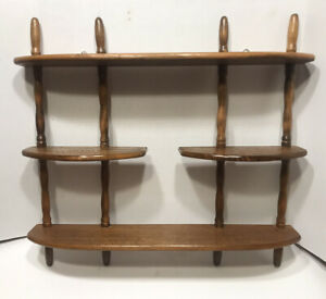 VINTAGE WOOD WALL SPINDLE SHELF FOR MINIATURES COLLECTIONS $36.99