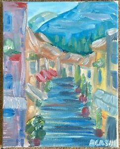 original oil painting Italy Impressionism Village Street Art Canvas $38.00