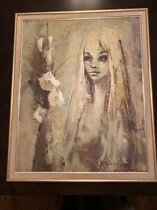Rare Andre Bertounesque Early Original Oil Signed and Dated $3200.00