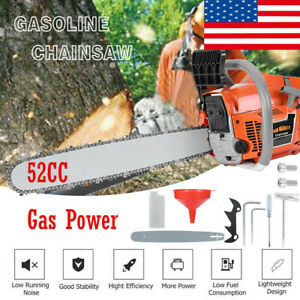 52cc 22quot; Bar Gas Powered Chain Saws 52cc 2 Cycle Gasoline Chainsaw Wood Cutting $99.99