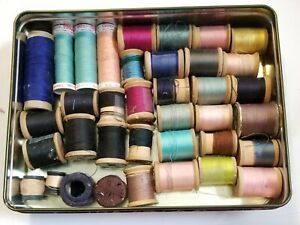Vintage Thread Lot Assorted Colors 28 Wooden Spools others $18.00