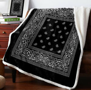 Bandana Pattern 3D Print Sherpa Blanket Sofa Couch Quilt Cover throw blanket $30.09