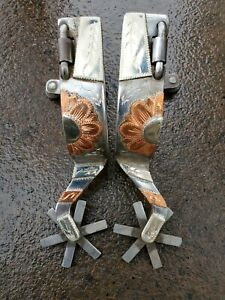 Used Handmade Silver Single Mounted Spurs Marked by Maker