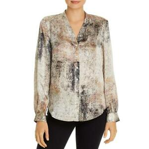 Eileen Fisher Womens Silk Printed Button Down Blouse Shirt BHFO 2436 $42.99