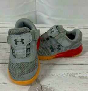 Under Armour Toddler Athletic Shoes Size 5K Gray Red Orange Sneakers $6.10