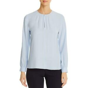 Eileen Fisher Womens Silk Key Hole Shirt Blouse Top BHFO 1741 $43.99