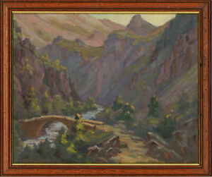 Charles Bernard Signed amp; Framed Mid 20th Century Oil View of Romanche River $312.19