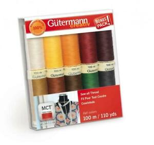 Gutermann Thread Sew All Fall Asst Pack of 10 Spools ea. 110 yds Polyester $15.00