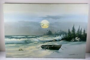 C. MILLION LARGE OIL ON CANVAS SEASCAPE PAINTING OF ROW BOAT ON SHORE SIGNED $49.00