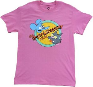 Men#x27;s The Simpsons Itchy amp; Scratchy Show Pink Retro Vintage Cartoon T Shirt Tee