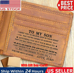 To Son Grandson Husband Customized Engraved Leather Wallet for Christmas Gift
