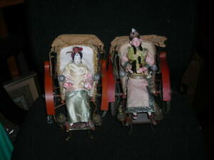 PAIR OF FOLK ART ANTIQUE VICTORIAN CHINESE DOLLS ON RICKSHAWS 9X8X7 $385.00
