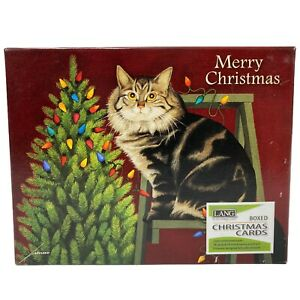 LANG 18pk STRINGING LIGHTS CAT GREEN FOIL CHRISTMAS CARDS w DECORATIVE ENVELOPES $17.95