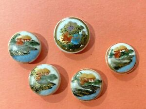 Vintage Satsuma Japanese Porcelain Buttons Set of 5 Free Shipping